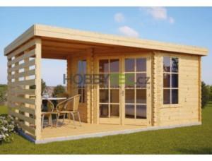 dřevěný zahradní domek s pergolou